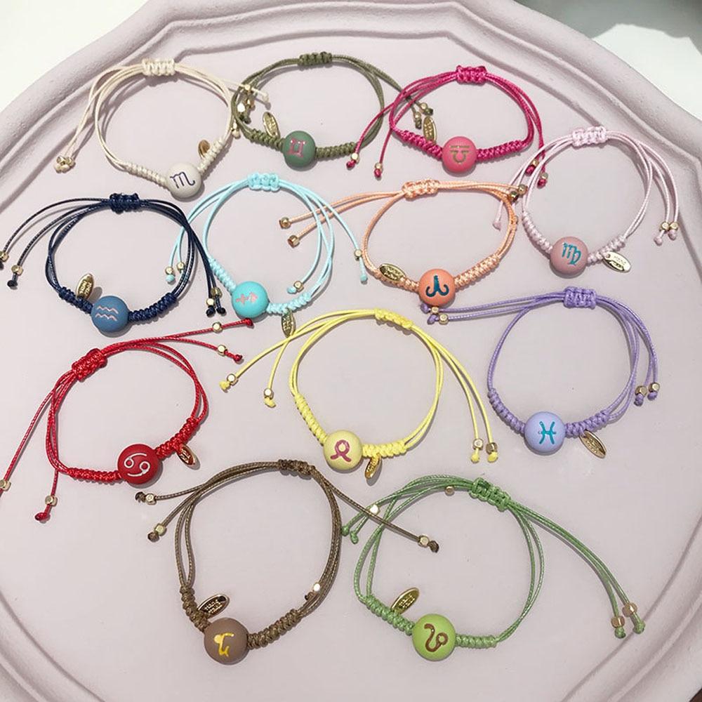 12 Constellation zodiac signs bracelet couple Bracelet Woven best friend wish bracelet couple friendship men bracelet women men