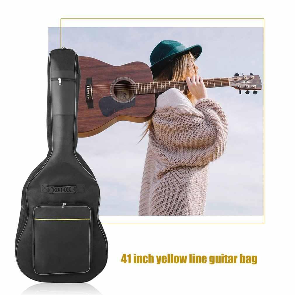 "Saco de guitarra à prova dwaterproof água 41 ""duplo ombro guitarra elétrica show mochila saco guitarra elétrica saco 10 mm algodão acolchoado preto"