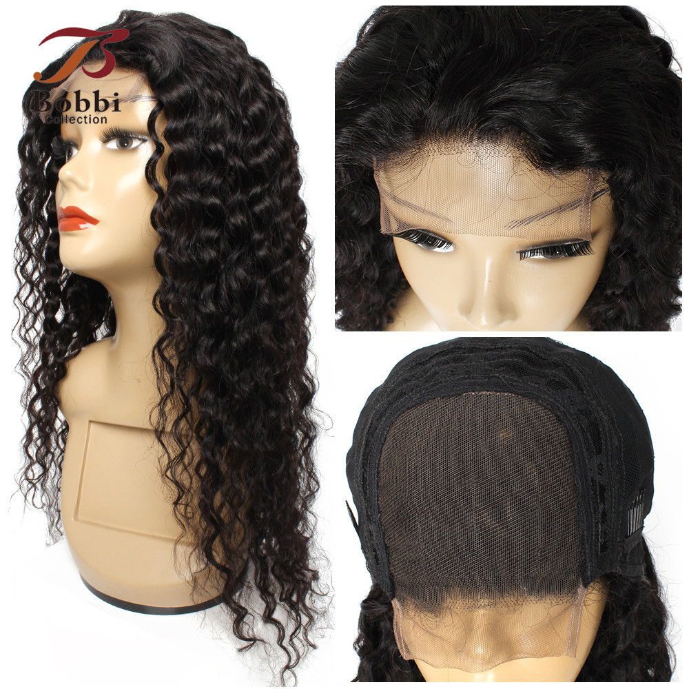 BOBBI COLLECTION 4x4 Lace Closure Wig Remy Human Hair Wigs Water Wave Natural Black Pre-Plucked 12-30 inch 150-180% Density