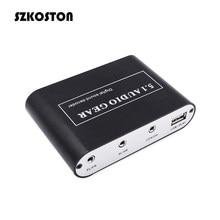 5.1 decodificador de áudio digital som dts/ac3/pcm óptico para estéreo surround digital ao conversor analógico hd 2 spdif 3.5 aux coaxial