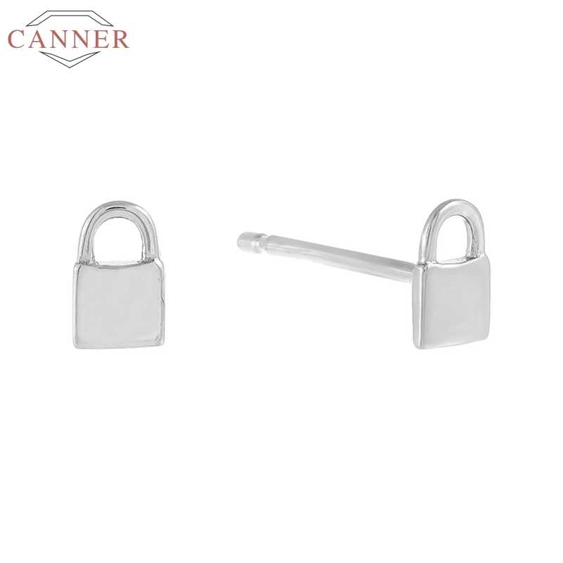 CANNER 925 Sterling Silver Lock Stud Earrings For Women Gold Aretes Earring Piercing Cartilage Earings Luxury Jewelry Pendientes