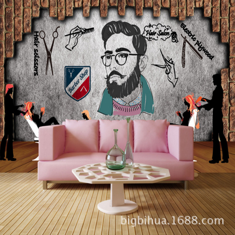 Vintage Hand-Painted Barber Shop Wall Mural 3D Cool Hair Salon Hair Dressing Decoration Wallpaper Hair Dressing Shop Wall