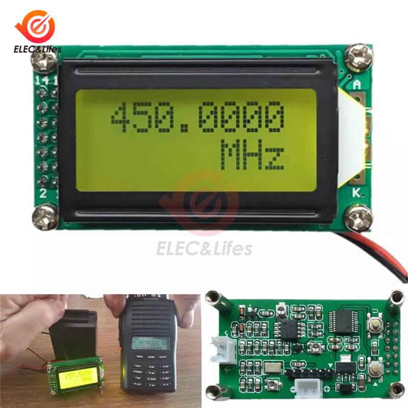 DC 9-12V 1MHz-1.2GHz RF Frequency Counter Tester Digital PLJ-0802-E LCD0802 LCD Meter For Ham Radio 1-1200mhz DIY Kit