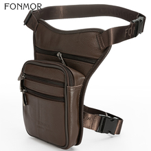 FONMOR Genuine Real Leather Drop Leg Bag For Men Waist Pack Fanny Pack Thigh Hip Bum Belt Bags Phone Pouch Travel Male Casual men s vintage leather drop leg bag thigh hip bum belt military motorcycle messenger hook fanny pack male waist bags new