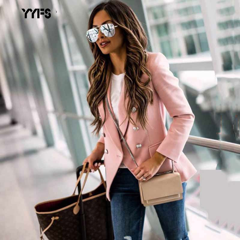 2019 Women Office Blazer Ladies Autumn Long Sleeve Classic Office Small Coats Double Breasted Pink Clothing Work Suit Jackets