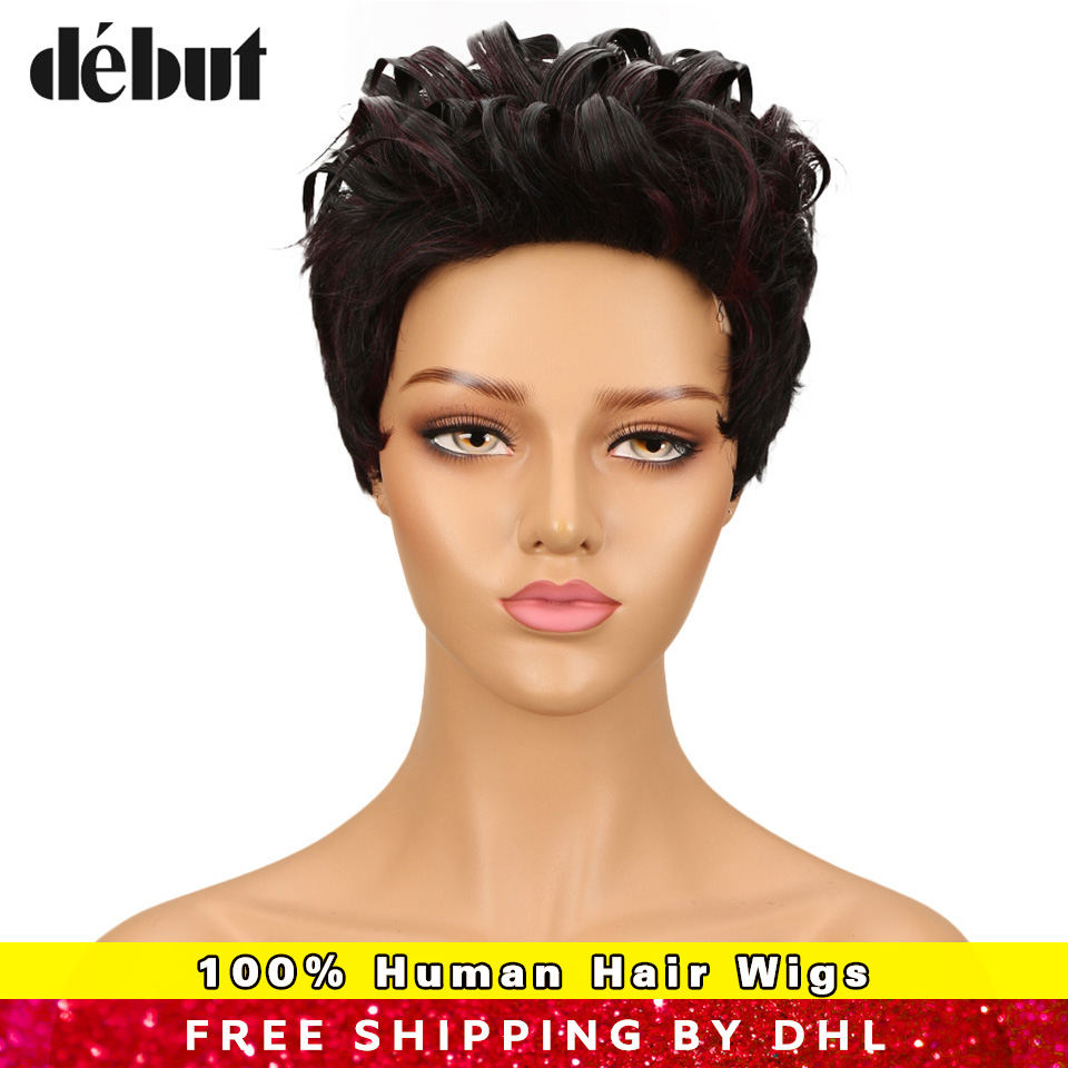 Debut Brazilian Curly  Wave Remy Hair Short F1b/99j Ombre Color Bobo Human Hair Wigs For Black Women Mohawk Machine Made Wigs