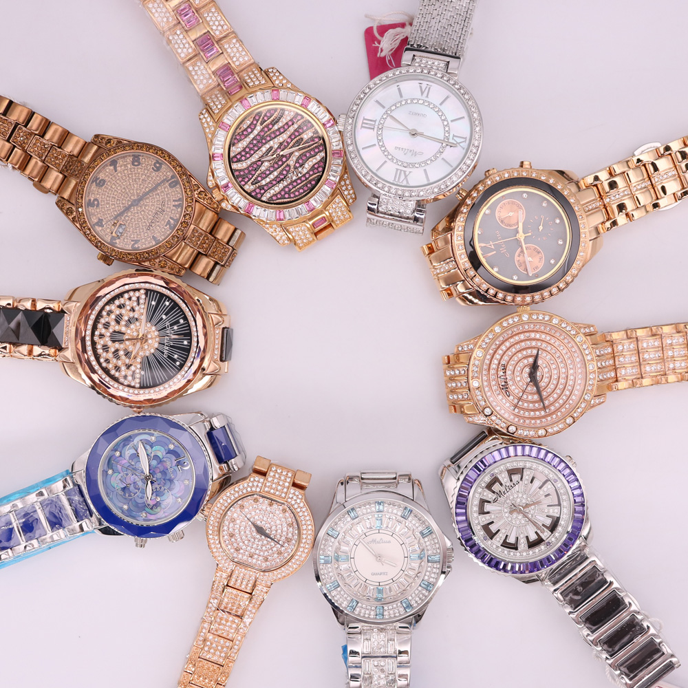SALE!!! Discount Melissa Ceramic Crystal Rhinestones Lady Men's Women's Watch Japan Mov't Hours Metal Bracelet Girl's Gift