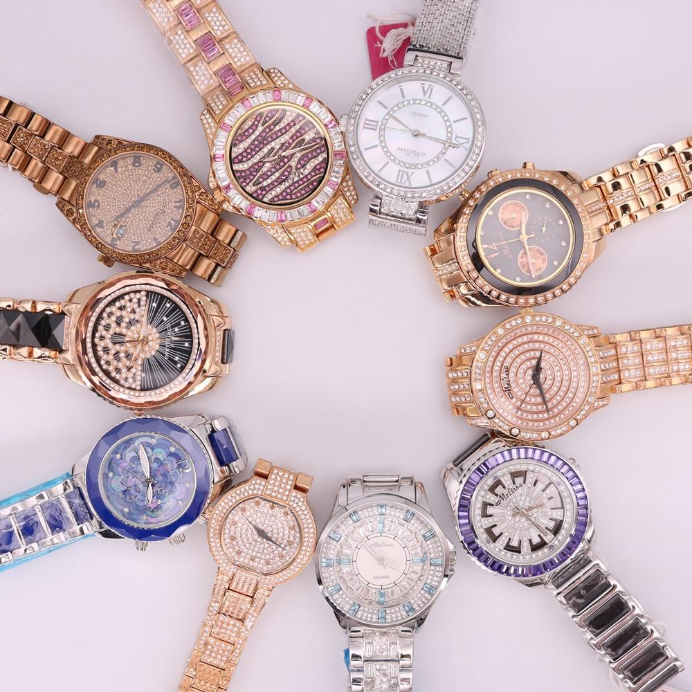 SALE!!! Discount Melissa Ceramic Crystal Rhinestones Lady Men's Women's Watch Japan Mov't Hours Metal Bracelet Girl's Gift