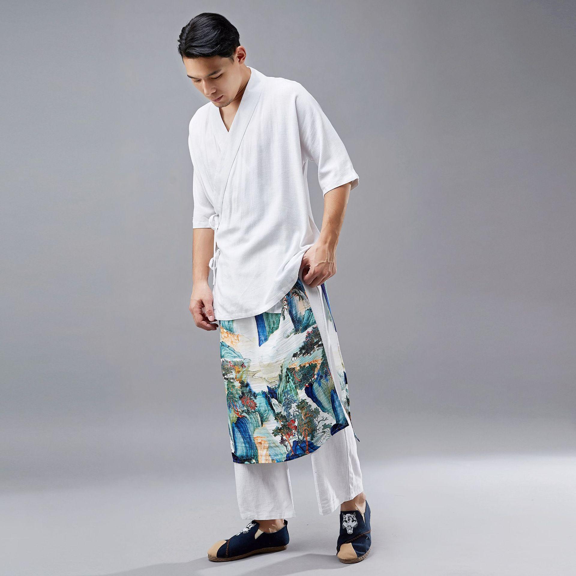 2019 New Style Hemp Cotton Casual Pants Men Chinese-style Straight-leg Pants Elastic Girdle Two-Piece Design Capri Pants