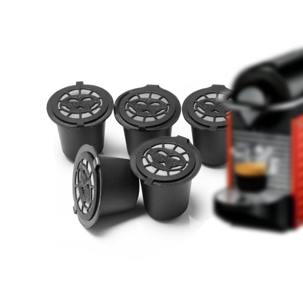 6PCS Reusable Nespresso Coffee Capsules Cup With Spoon Brush Black Refillable Coffee Capsule Refilling Filter Coffeeware Gift