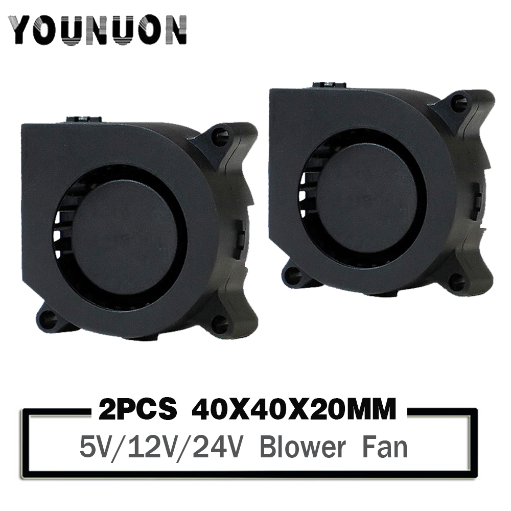 2PCS Gdstime 3D Printer Fan 40mm 4020 Turbo Blower 24V 12V 5V Ball Bearing Cooling Fan 40mm X 40mm X 20mm for 3D Printer Parts 12V Ball Long Cable