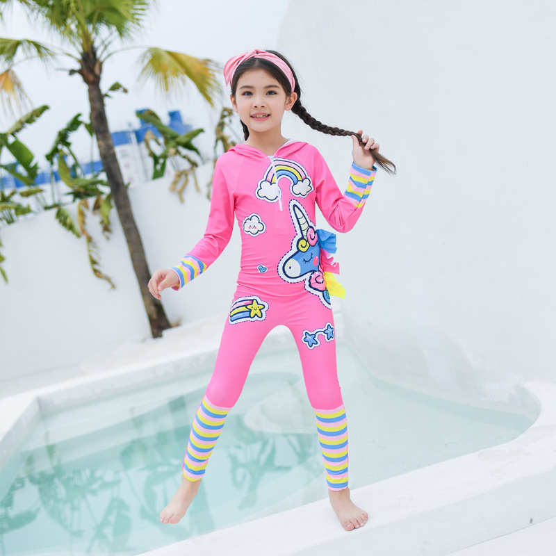 19 Years KID'S Swimwear GIRL'S And BOY'S One-piece Sun-resistant Water Service Long Sleeve Trousers Hooded Big Boy Holiday Beach