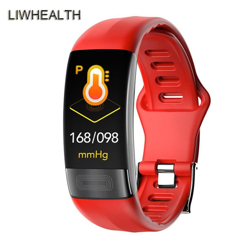ECG PPG HR/BP bracelet de Montre intelligent 24 heures moniteur Reloj hommes/femmes Smartwatch pour Apple/Samsung/Xiao mi PK mi bande 4 Montre Connect