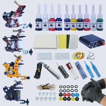 Professional Tattoo Machine Set  4pcs Machines Tattoo Accessories Microblading Kit Tattoo Kit Professional Beginner Tattoo Set
