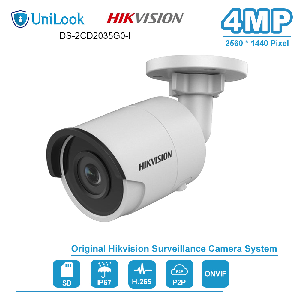 Hikvision 4MP Bullet IP Camera PoE Onvif H.265+ Home/Outdoor IP67 Video Night Vision CCTV Security Surveillance DS-2CD2043G0-I