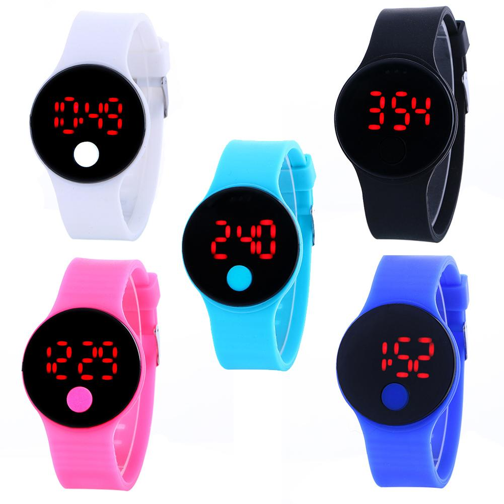 Silicone Strap Round Dial LED Display Digital Sports Wrist Watch Student Gift Fashion Mens Sport Watch Kids Gifts Relogio Saati