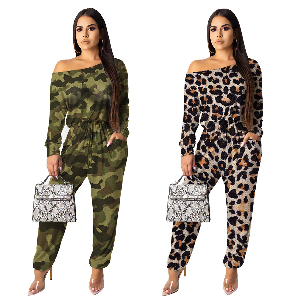leopard print casual   jumpsuit   o neck long sleeve sexy full length overalls lady body feminino rompers
