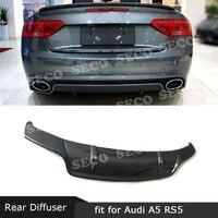 For Audi A5 RS5 2012-2016 Rear Lip Diffuser Carbon Fiber Back Bumper Skid Plate Guard Car Styling