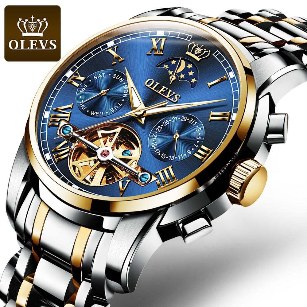 OLEVS luxury classic men's automatic mechanical watch authentic fashion waterproof luminous stainless steel watch