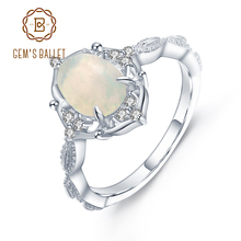 GEMS BALLET Natural African Opal Gemstone Ring 925 Sterling Silver Vintage Engagement Rings for women Fine Jewelry