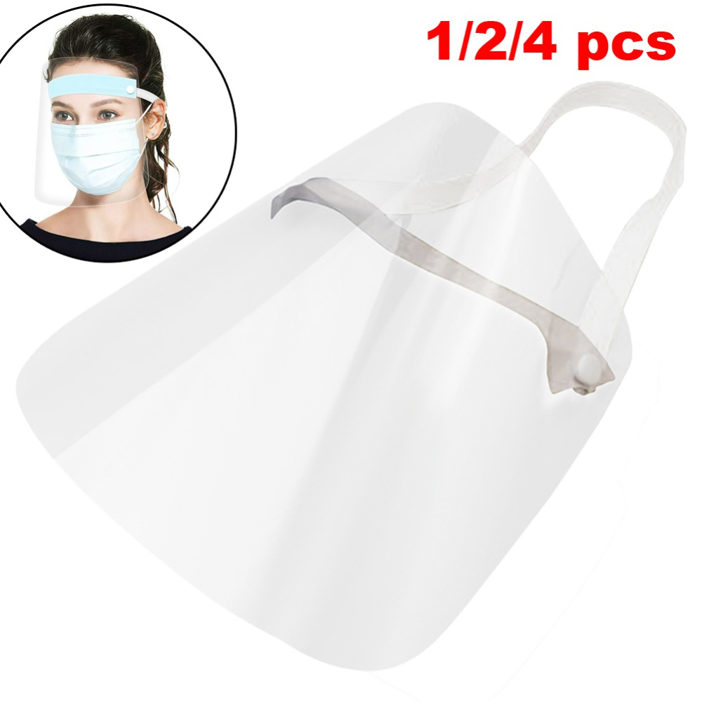 4/10PCS Clear Face Cover with Double-Sided Film and Adjustable Headband to Protect Full Face 1