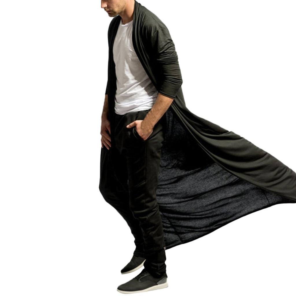 H58ac370da8014079a901141d577cc699F Feitong Men's Cardigans Casual Slim Solid Long Shirt Tops Long Coat Outerwear Plus Size