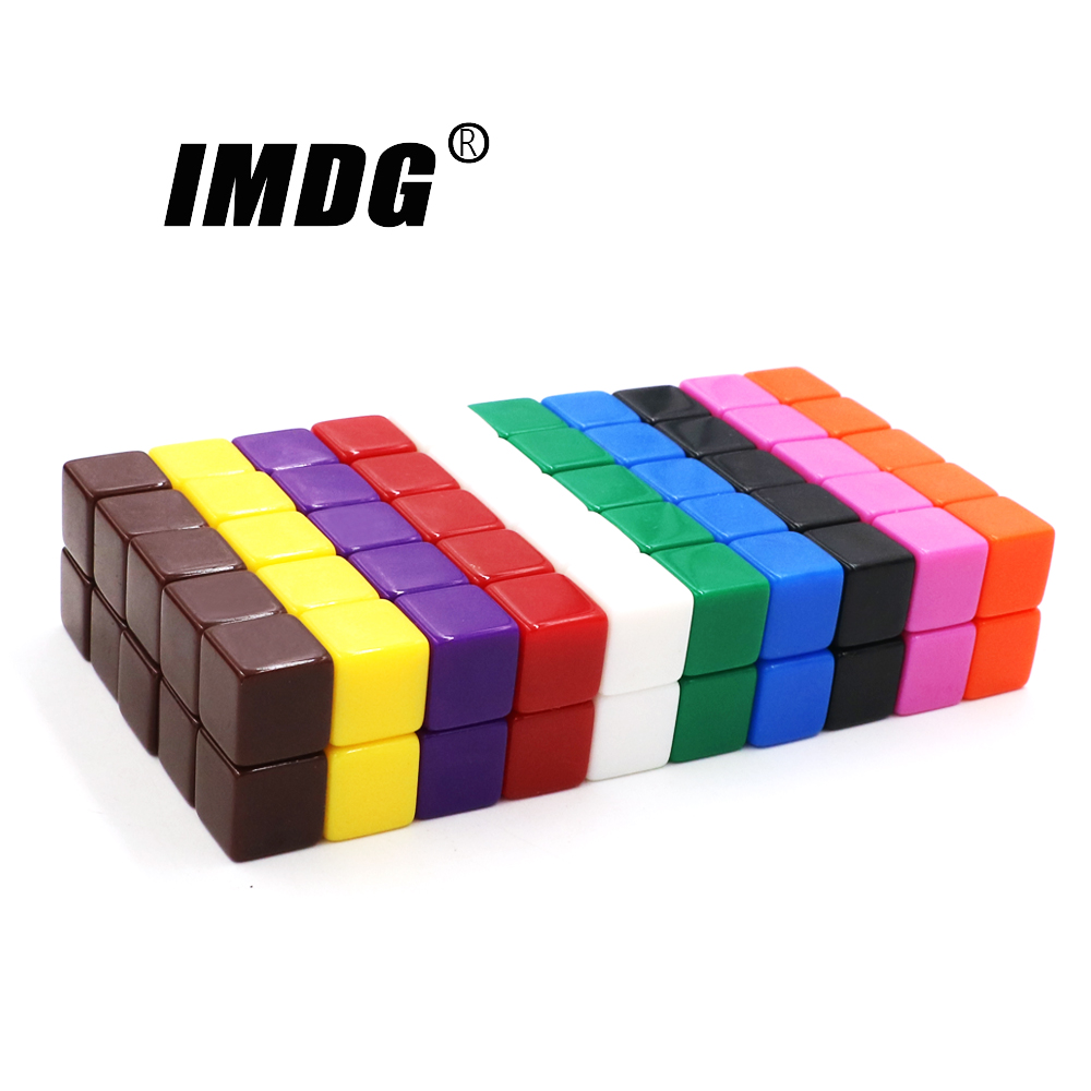 100pcs/pack <font><b>Blank</b></font> <font><b>Dice</b></font> Square Corner New Colorful Acrylic <font><b>16mm</b></font> Teaching Props Game Accessories Mathematical Tools image