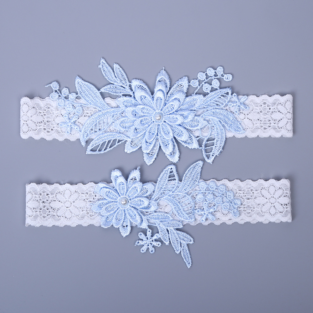 2pcs Wedding Garter Set Embroidery Floral Lace Garters Belt Sexy Suspender For Women Bride Thigh Ring Bridal Leg Garter