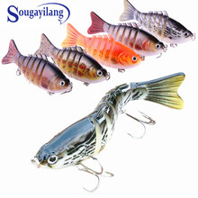 Sougayilang 1Pc 10cm 15g Swimbaits Fishing Lure 5 Colors 3D Eyes 6 Segments Fish Lure Crankbait Isca Artificial Bait Pesca(China)