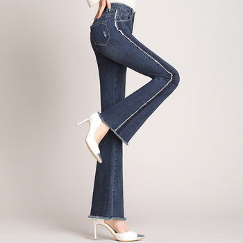 WOmen's Bootcut Jeans 2020 Spring Summer High Waist Tassel Cotton Denim jeans Thin Slim Trousers Women Clothing