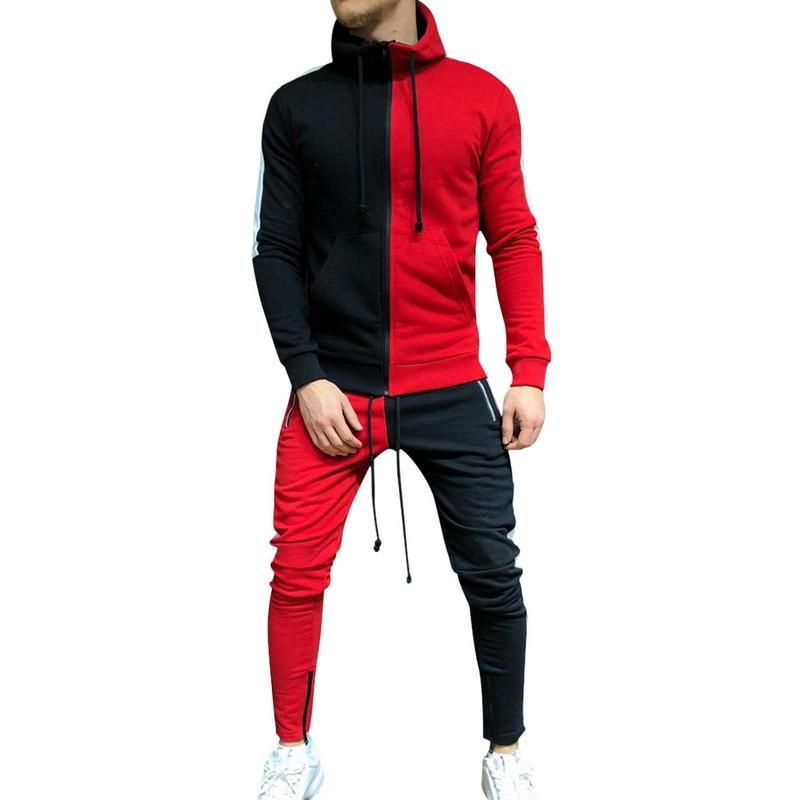2020 Brand Mens Sets Fashion Autumn Patchwork Jacket Sporting Suit Hoodies+Sweatpants 2 Pieces Sets Slim Tracksuit Clothing