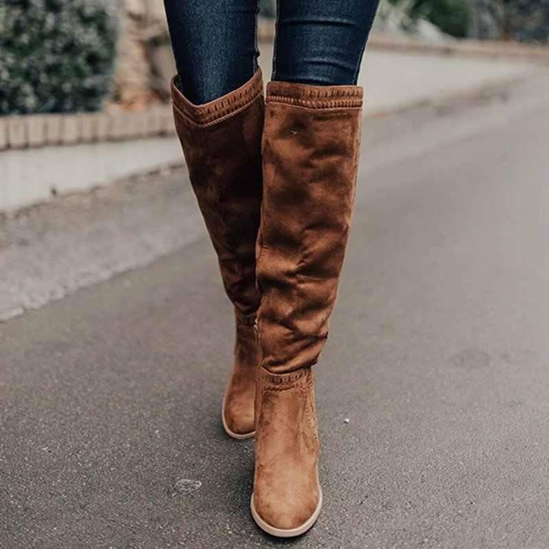 SHUJIN ฤดูหนาวรองเท้าผู้หญิงเข่าสูงรองเท้าส้นสูง 2019 ของแข็งฤดูหนาวรองเท้าเซ็กซี่ยืดหยุ่นผ้า Warm สีดำต้นขารองเท้าสาว