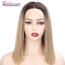 Doris Beauty Ombre Blonde Front Lace Wigs Short Straight Synthetic Wig