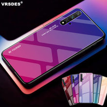 For Huawei Honor 20 Pro V20 20i 10i 10 9 Lite 8X MAX 7C Case Gradient Tempered Glass Case For Honor 8X 8S 10 Lite View 20 Funda(China)