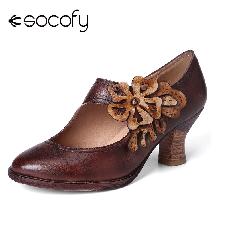 SOCOFY Retro Boots Autumn Style Withered Floral Genuine Leather Comfy Pumps Elegant Shoes Women Shoes Botas Mujer 2020