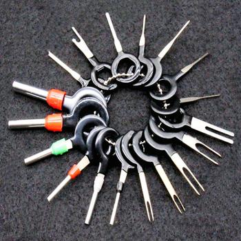 18 sztuk 11 sztuk wtyczka samochodowa Terminal usuń zestaw narzędzi klucz Pin samochód elektryczny drut zaciskane złącze Extractor Kit akcesoria tanie i dobre opinie Ze stopu miedzi