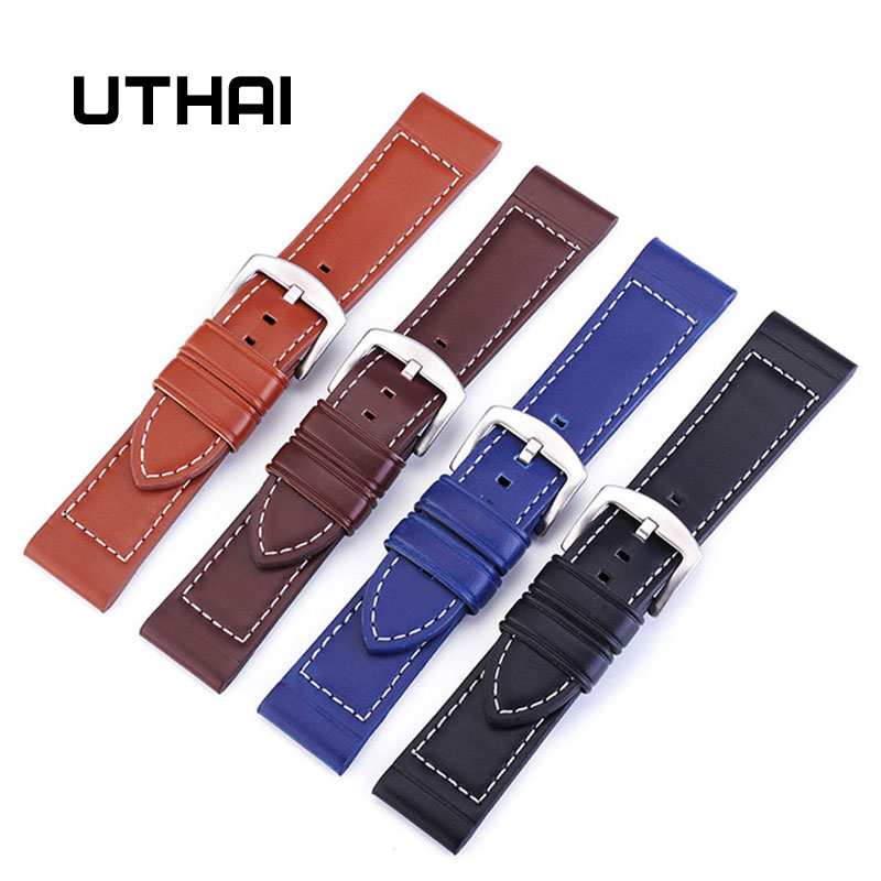UTHAI P14 18 20 22 24mm Genuine Leather Straps Fashion Soft Watch Belt Black/Brown/Blue/lightbrown Watchband Bracelet + Tool