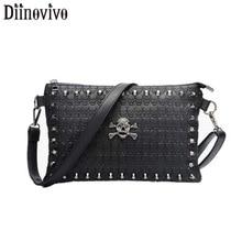 DIINOVIVO Punk Skull Embossing Woman Shoulder Messenger Bag Rock Clutch Bags Rivet Ladies PU Leather Handbag WHDV1281
