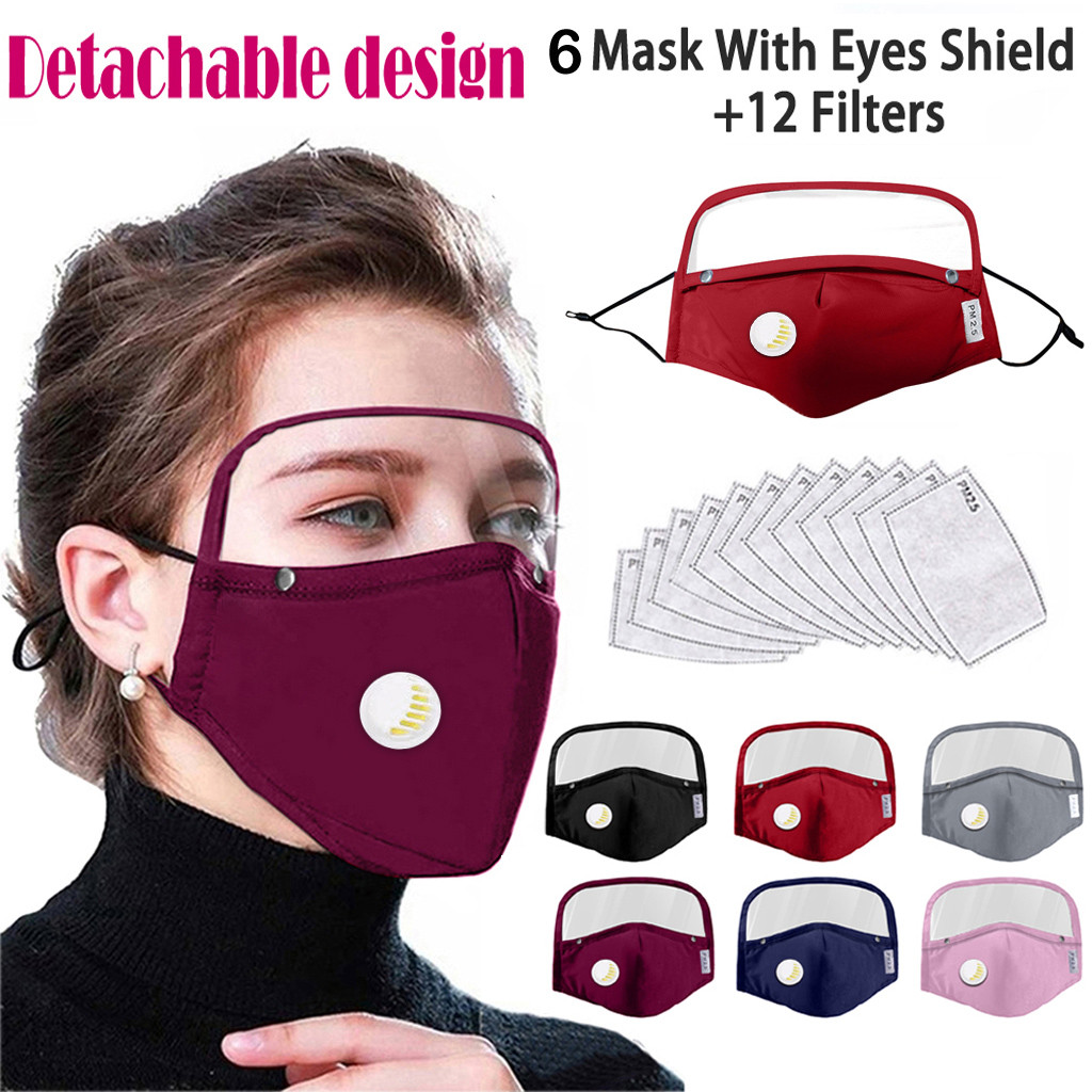 Detachable Eyes Shield Facemask Dust Protective Face Mask With Valve Filters Reusable Mask Cover Desgin Face Mask mascarilla|Cycling Face Mask| - AliExpress