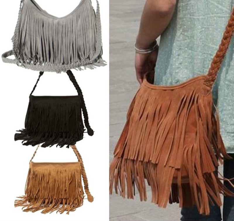 SHUJIN 2020 Womens Tassle Fringe Faux Suede Shoulder Messenger Crossbody Bag Handbag Purse Black Brown White