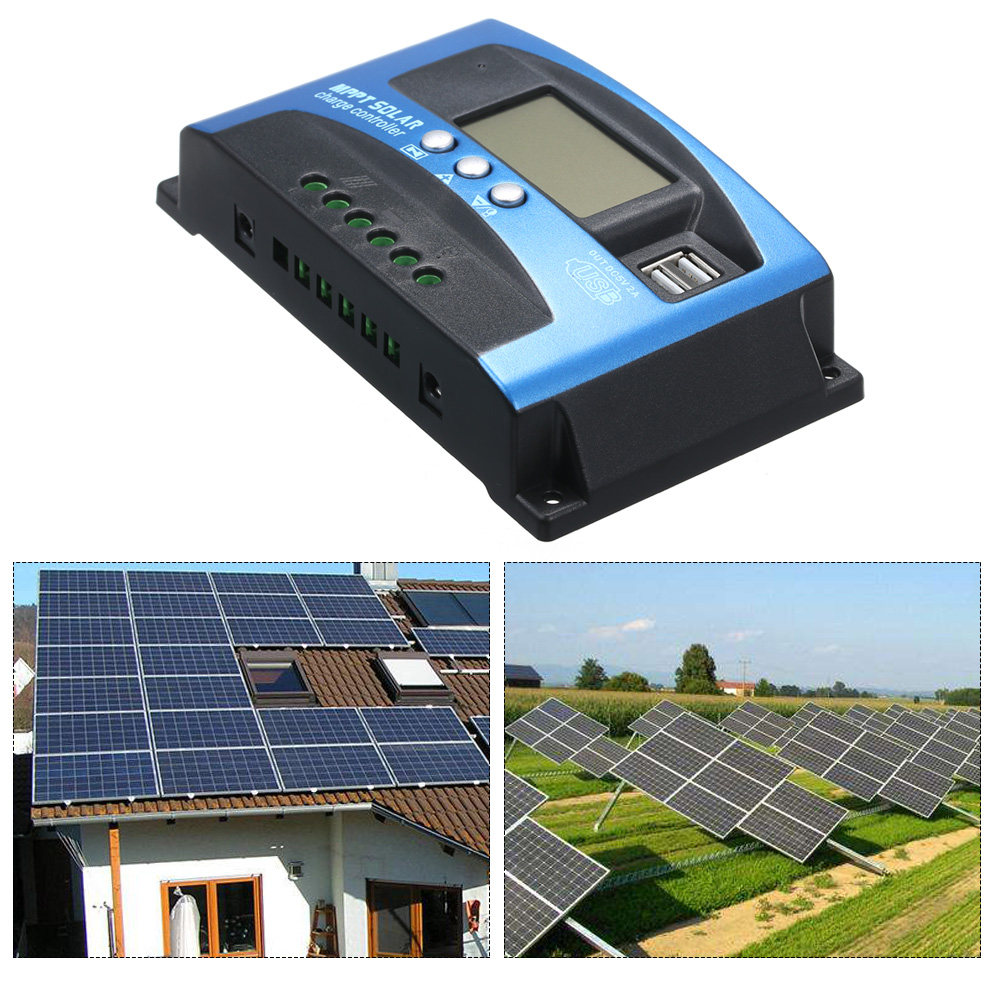 Image 4 - MPPT Solar Charge Controller Dual USB LCD Auto Solar Cell Panel Charger Regulator MPPT 60A 30A 40A 50A 100A Solar Regulador-in Solar Controllers from Home Improvement
