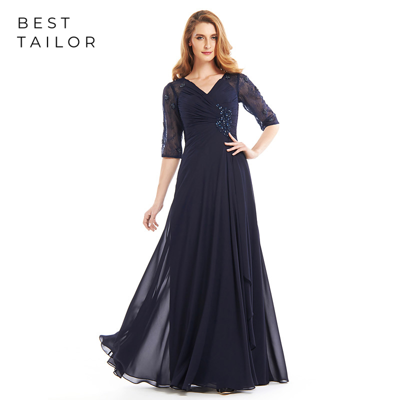 Navy Blue Chiffon Mother Of The Bride Dresses For Weddings 2019 V-Neck Lace Half Sleeves Pleats Wedding Party Gowns Hollow Back