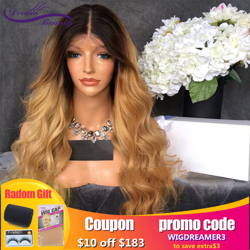 Blonde13X6 Lace Front Human Hair Wig For Women Ombre Blonde Brazilian Body Wave Remy Human Hair Wigs With Baby Hair Dream Beauty