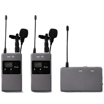 Hot KW-M01 50-Channel UHF Professional Chargable Dual Wireless Lavalier Microphone System for Canon 5DII/5DIII,6D,Camcorder & Sm