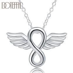 DOTEFFIL 925 en argent Sterling 18 pouces ange ailes pendentif collier pour femmes homme mode mariage fiançailles fête breloque bijoux