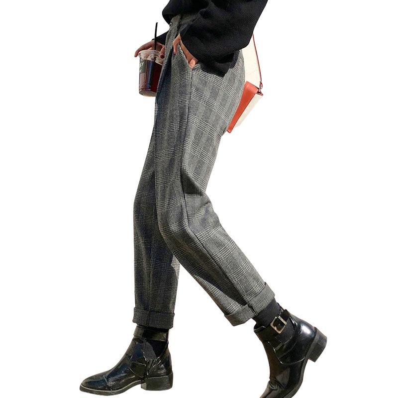WQJGR pantalon automne et hiver femme longueur cheville taille haute grande taille pantalon à carreaux Slim Streetwear