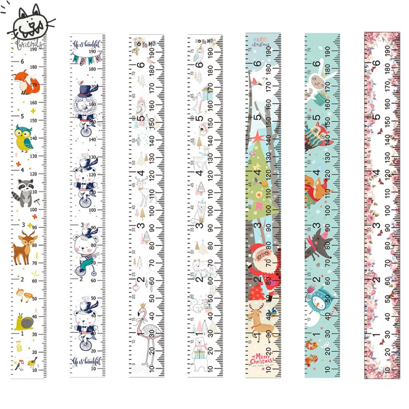 Hanging Canvas Height Ruler For Kids Cartoon Printed Decorative Growth Chart Wall Measurement Ruler Children Height Record