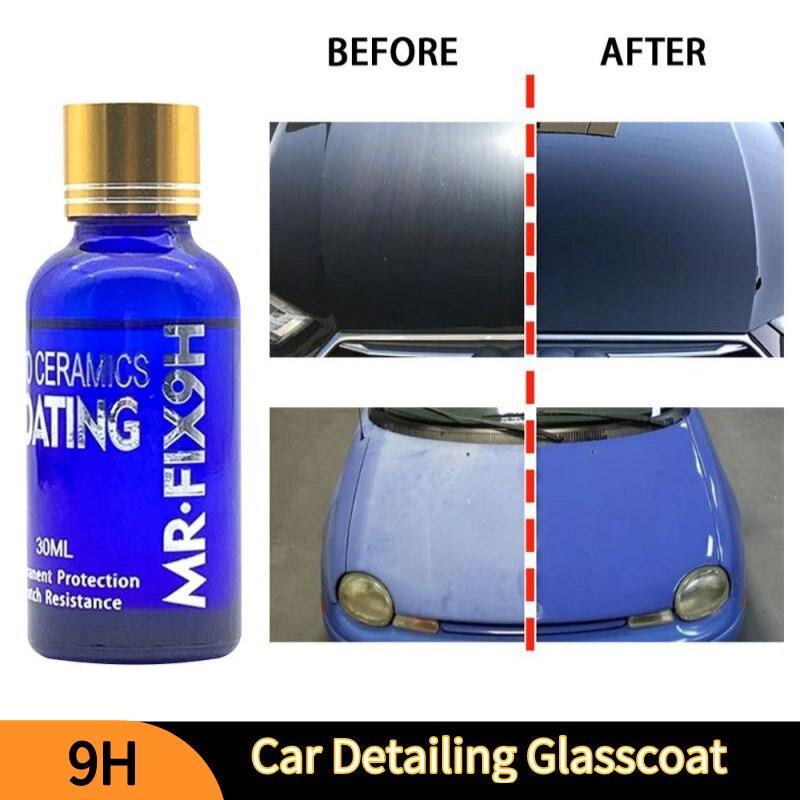 Жидкое керамическое покрытие для автомобиля 9H, гидрофобное покрытие для стекол, защита краски мотоцикла, защита от царапин, детейлинг автом...