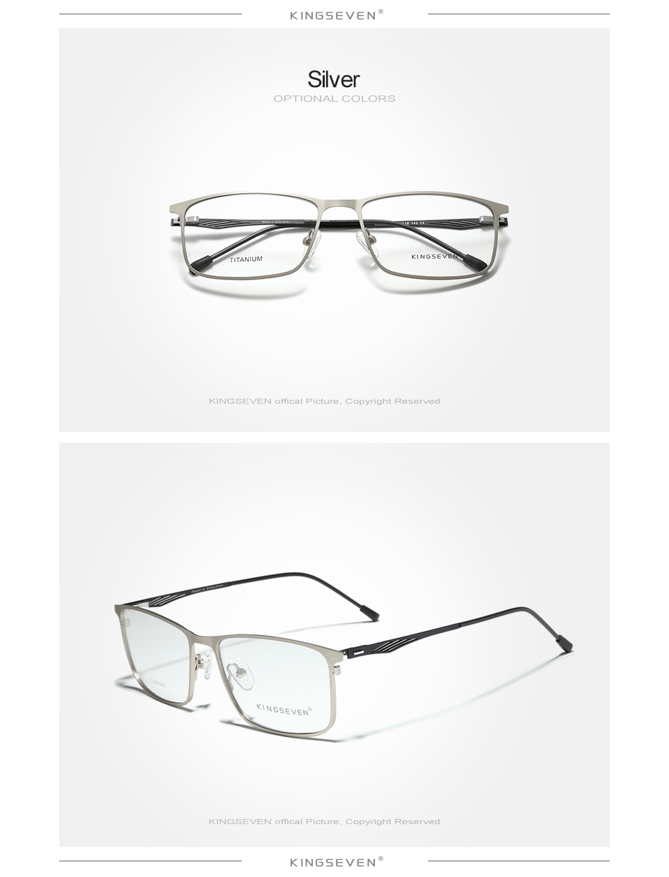 KINGSEVEN Titanium Alloy Optical Glasses Frame Men 2020 Square Myopia Prescription Eyeglasses Male Metal Eyewear