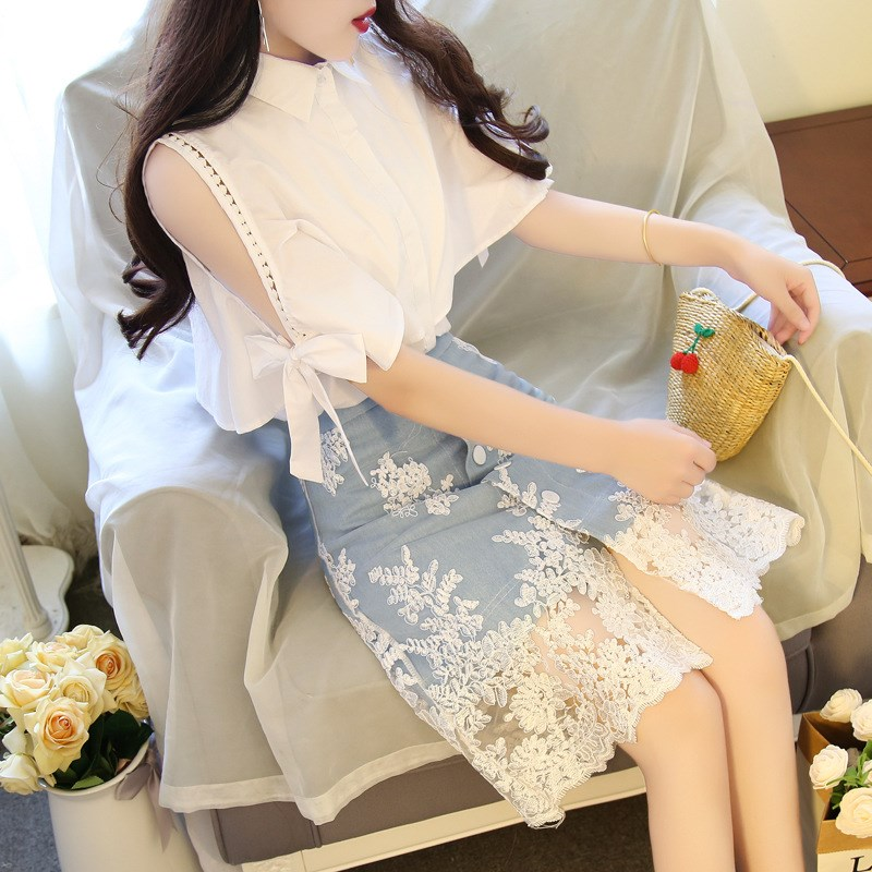2019 New Summer Women Lace Embroidery Female Set Sweet Half Sleeve Bowknot Shirts And Denim Midi Skirt 2 Piece Suit